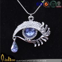 2015 best selling personalized design blue evil eye with rhinestone eyelash