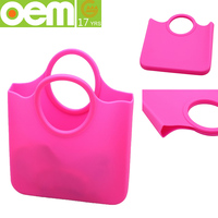 custom design promotional pink waterproof silicone beach bag
