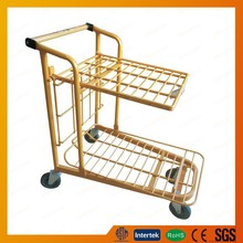 2 layers hand push cart trolley for warehouse