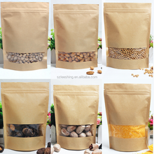 Standing up pouch food packaging with zipper kraft paper bag