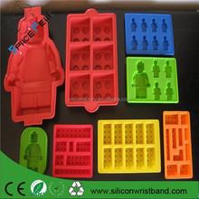 100% FDA Lego minifigures silicona Lego moldes para hacer velas, caramelo, jabones y cubos de hielo pan