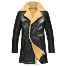 Hot style real sheep skin fur made coat men long leather coat
