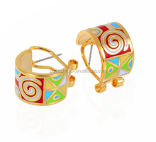 oil painting gold plated stainless steel enamel earrings