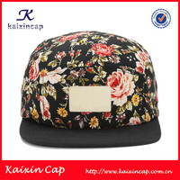 high quality custom floral printing flat brim snapback 5 panel cap wholesale