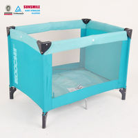 baby blue daycare outdoor polyester metal playpen crib bed cot with child safety lock