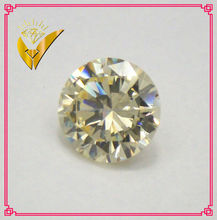 fake diamond light yellow round shaped loose cubic zirconia