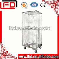 3 sides stackable wire mesh logistic roll cage