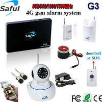 Saful support 2g 3g 4g 433/315mhz frequency gsm security alarm system with Pir sensor ,door detector