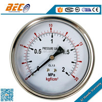 silicone oil filled manometers pressure gauge with sight glass for belt tension