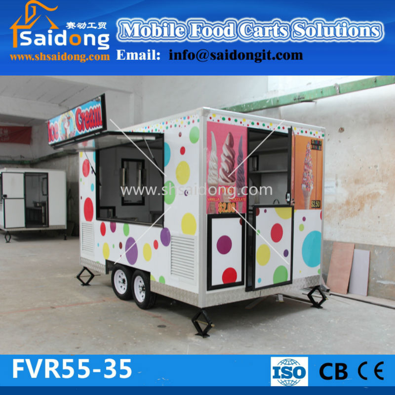 큰 공간 핫도그 자동 판매기 트레일러 간식 판매 식품 카트 식품 할인 트럭 가격 식사 기계 상품 ID