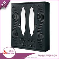 Bedroom furniture modern MDF 4 door simple indian bedroom wardrobe designs with outside drawers