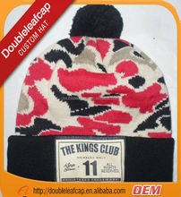 Leather patch logo custom knitted pom beanie hat wholesale