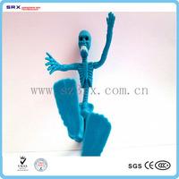 Customize bendable figurine toys, skeleton flexible action figure oem, OEM cartoon characters bendable toys