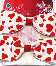 Fancy Valentine's Day hair bow clips(approved by BV)