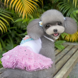 Colorful Love On The Back Pet Dog Puppy Cloth Princess Dress BY-068