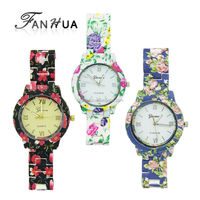 New Trendy Modern Style Flower Printed Watchband Women Wrist Watch