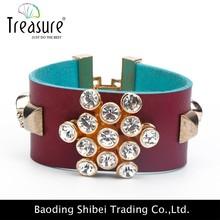 2015 estilo único chapado en oro pulsera brazalete de cuero