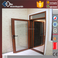 Exterior Wooden Color Aluminium Profile Swing Outside Door with Swing Inside Mosquito Net