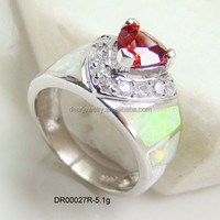 White Opal Rings For Women , Garnet With Opal Jewelry , China Custom Opal Jewelry DR00027R Accepted By paypal