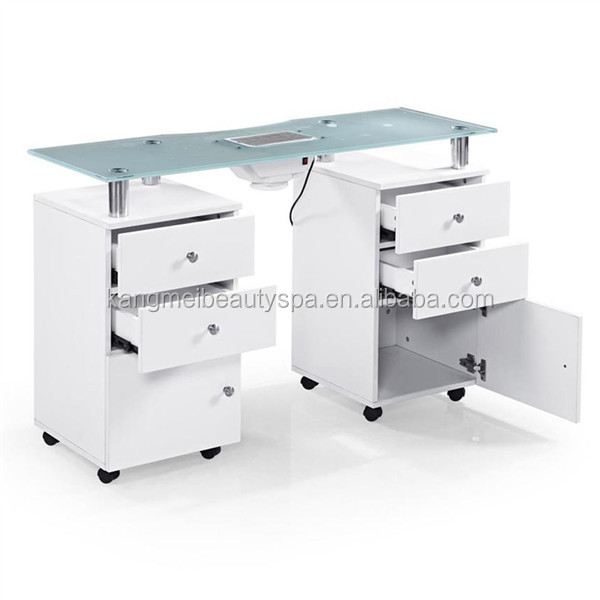 Beatuty salon glass manicure table double manicure table for Table 6 km turquie