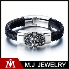 braided leather bracelet for men with stainless steel lion and black genuine handmade leather straps