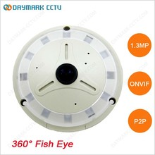 Onvif 1.3MP Fish Eye 360 Degrees Adjustable Dome CCTV Camera