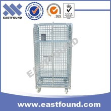 4 Wheels Wire Galvanized Hand Trolleys, Storage Rolling Cage Cart