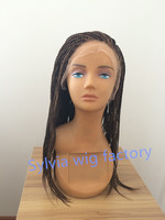 fashion high quality brown highlight blonde 2T ombre twist braided wig micro braided synthetic lace front wig