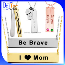 Custom Silver Engraved Stainless Steel Nameplate Necklace Rose Gold Plated Plain Personalized Name Plate Gold Bar Necklace