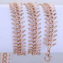 Customize ANY Length 14mm Womens Chain Girls Ladies Centipede Rose Gold Filled Necklace Chain