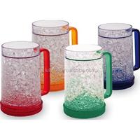 Bpa Free Hot Selling Summer Double Wall Frosty Gel Plastic Freezer Beer Mug With Hanlde