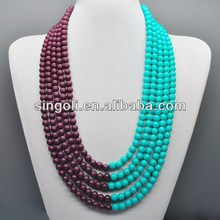 2014 China wholesale fashion jewelry double colored 5 layered beaded necklace