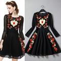 grado superior de nuevo de moda vestido de primavera las mujeres 2015 bordado manga larga vestido vintage slim fit una línea de vestir casual de estilo europeo