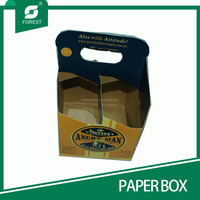 CUSTOM PTINT KRAFT PAPER WINE BOXES 4 PACK BOTTLES CARRIERS WITH HANDLE