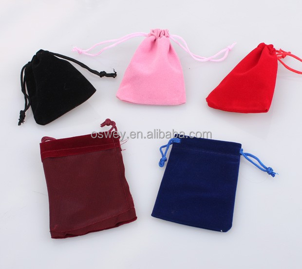 7x9cm custom velvet bag drawstring bag jewelry pouches