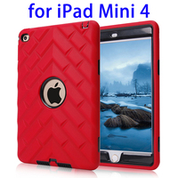 High Quality 3 in 1 PC+Silicone Hybrid Case for iPad Mini 4 cover