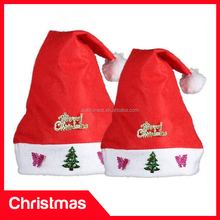 High quality red christmas hat, Musical christmas hat, Cheap Promotions Music Led Christmas Hat