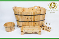 Garden bathtub bathroom product with handmade solid wood made,natural color