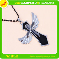Ailbaba wholesale high quality bead chain drop oil cross with angel wing necklace