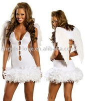 2014 new designed Ladies Angel Fancy Dress Halloween Costume Sexy Top Costumes Woman
