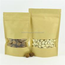 Plastic brown flat kraft bags, snack food packaging paper bags with window