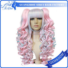 Wholesale factory price top quality synthetic hair 110% density pink lace wig, fluffy hair wig, pink wigs