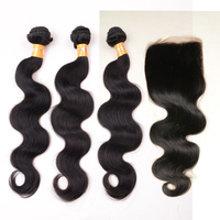 Raw Indian Hair Weave with Free Part Cheap Lace Closure 7A Body Wave Virgin Hair Bundles with Lace Closure 4Pcs/Lot