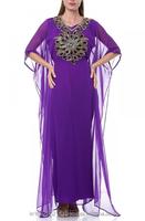 Egyptian muslim new designer kaftan evening robe hand made fashion style abaya women long dress islamic clothing k3003