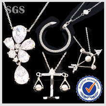Wholesale New Design Fashion Real Platinum Plating CZ Pave Pendant Jewelry Necklace