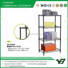 2015 hot sell NSF 100KGS black color plastic powder light duty 4 layer warehouse wire shelving rack (YB-HS005)