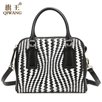 free shipping high quality woven genuine leather large tote bag for lady European style