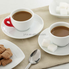 75cc colorful silicone handle porcelain cup and sauce,coffee cups and saucers