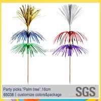 3 layers palm tree decorative metallic cocktail party food picks