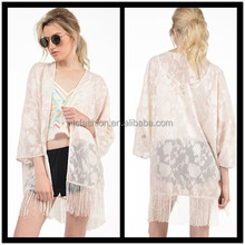 New Arrival White Kimono With Crochet Hem Sleeve